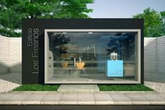 """Salesroom design for the residential project """"Los Fresnos"""" in San Isid … Kiosk Design, Facade Design, Booth Design, Container Shop, Container House Design, Shipping Container Sheds, Shop Facade, Prefab Cabins, Pharmacy Design"""