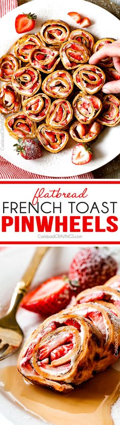 These Flatbread French Toast Pinwheels are the cutest, tastiest thing ever and way easier than traditional French Toast roll ups! I made them for a brunch and everyone loved them!
