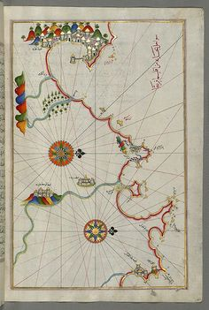 Illuminated Manuscript, Map of the Algerian coast from the port of Bejaia (Bajāyah) as far as Annaba (Balad al-ʿUnnāb) with the city of Constantine (Qūstantinīyah) from Book on Navigation, Walters Art Museum Ms. W.658, fol.274b | by Walters Art Museum Illuminated Manuscripts