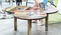 3 wooden spools pieced together for a rustic coffee table... cool! By Bliss-Ranch
