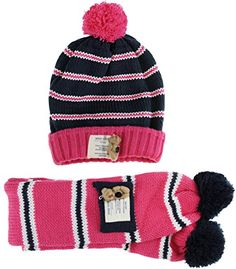 fa9281a543d Sunfei Cute Kids Boys Girls Autumn Winter Knitted Wool Pom Pom Beanie Hat  and Scarf Set