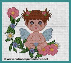 ANGEL NIÑA EN PUNTO DE CRUZ HILOS: 18 TELA: Aida 14  MEDIDA: 19,82cm X 18,18cm