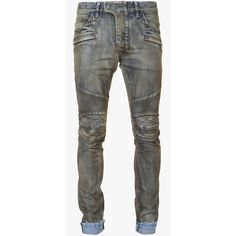 Balmain Slim-fit stretch cotton denim biker jeans ($1,140) ❤ liked on Polyvore featuring men's fashion, men's clothing, men's jeans, mens slim cut jeans, mens blue jeans, mens denim jeans, mens cuffed jeans and balmain mens jeans