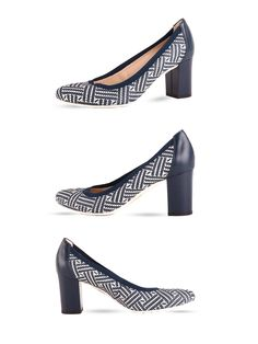 Półbuty skórzane, granatowo-białe na wygodnym obcasie.   Cena/price: 276.00 PLN #eksbut #eksbutstyle #shoes #buty #obuwie #fashion #women #kobieta #trendy