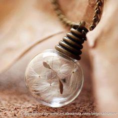 Dandelion Necklace, Extra Small Dandelion Pendant