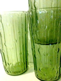 VINTAGE GREEN Bumpy Glasses Drinking Cups 3pc Set by JankytoSwanky, $20.00
