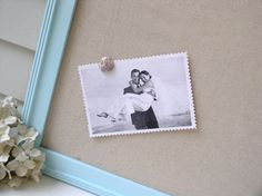 Beach Cottage Magnet Board in Robins Egg Blue - Framed Magnetic Bulletin Memo Board with Unbleached Natural Cotton Fabric - Message Board - I love these magnetic boards!!