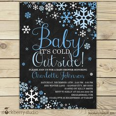 Boy Baby Its Cold Outside Chalkboard Baby Shower Invitation Printable - Blue Winter Wonderland Baby Shower Invitations - Winter Baby Shower
