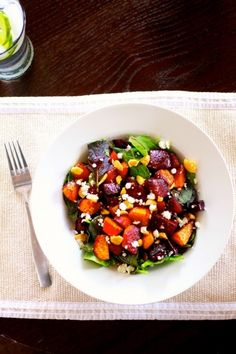 roasted balsamic beet salad - so simply and delicious.  Roasted beets are one of my favorite things, I never knew how easy it was! I used some walnuts I already had, and toasted them.  Will definitely make again.