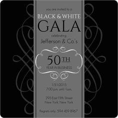 Black and White Gala Company Event Invite