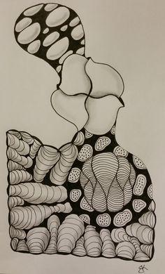 Tangles: Yagi, Geerandola, Mr. E, Orbs-la-Dee, Lotus Pods. Zentangle drawn by Katie Booth.