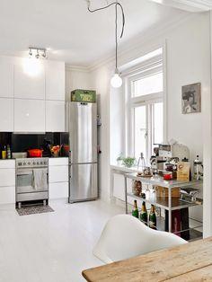 Kitchen in a Gothenburg apartment via My Scandinavian Home.