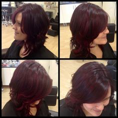 Deep red hair with red highlights curls & waves on a bob hair by Karen