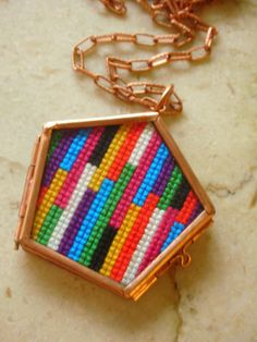Colorful Striped Cross Stitch Necklace by blendblend on Etsy, $34.99