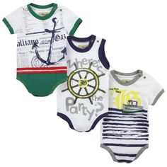 John Galliano Kids Pack of three printed bodysuits White - 69259 | Melijoe.com