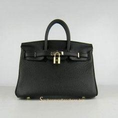 Sacs Hermès Pas Cher Birkin 25cm Tote Sac Noir Cuir Golden 6068 €191.00