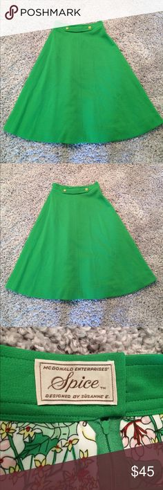 Vintage high waist spring green full a-line skirt Make an offer! I also have the matching jacket in my closet, and would be happy to bundle both for a discount! No size tag, but fits me as a 2. No trades. Bundle and save! Vintage Skirts A-Line or Full