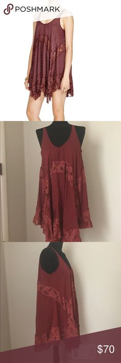 Free People She Swings Slip Dress NWOT New without tags Free People She swings Dress in maroon color. Size small but runs a tad oversized...would fit a medium perfectly. Free People Dresses