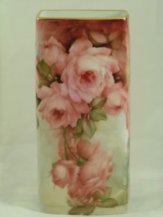 Here is one I did on a vase. I painted the Rose using European Red (my color) or you could use Yellow Red, if used lightly it makes that peachy color you are looking for. I used Mixing Yellow on