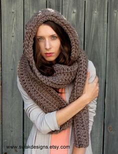 Oversized Hooded Scarf, The Lofty Wool Hooded Scarf, Scoodie Mortar Brown or Choose your Color