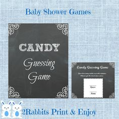 Chalkboard Candy Guessing Game with Matching Sign by 2RabbitsPrintEnjoy. This is a great way to have fun with your guests at a Rustic Baby Shower. #rusticbabyshower #chalkboardbabyshower #chalkboardprintables