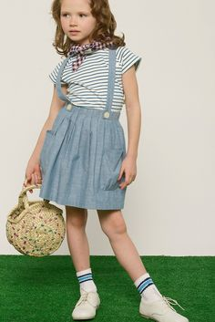 Chambray Suspender Skirt | Olive Juice