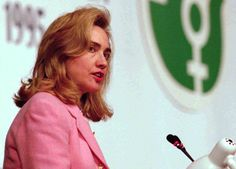 """In 1995, first lady Hillary Rodham Clinton addressed a special session of theUnited Nations Fourth World Congress on Womenin Beijing. """"Women's rights are human rights"""""""