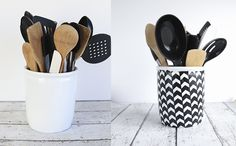 DIY Herringbone Utensil Crock Makeover - a Silhouette project - by Blooming Homestead