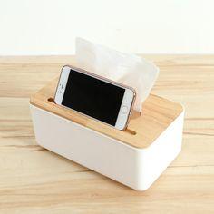 Duolvqi Plastic Tissue Box Dispenser W/ Oak Wooden Cover Paper Household Car Napkins Holder Home Organizer Decoration