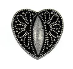 Baroque Carving Heart Antique Silver Metal Shank Buttons - 16mm - 5/8 inch