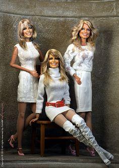 A Noel Cruz TRIO of Farrah's Barbie Celebrity, Celebrity Look, Barbie Mode, Barbie And Ken, Farrah Fawcett, Diva Dolls, Black Barbie, Doll Repaint, Barbie Collection