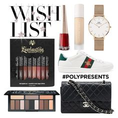 """#PolyPresents: Wish List"" by itsjana ❤ liked on Polyvore featuring Daniel Wellington, Gucci, Chanel, Puma, Kat Von D, contestentry and polyPresents"