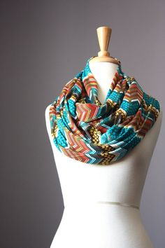 Chevron infinity scarf turquoise brown jersey by ScarfObsession, $29.00