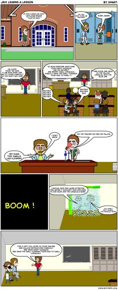 Student example of a lab safety comic using Bitstrips.  Links to my blog where you can find other examples.