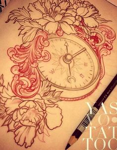 Love the idea of a compass in the middle of my flower cap sleeve