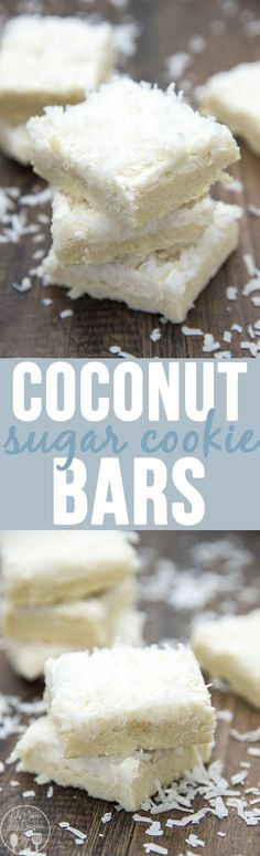 Coconut Sugar Cookie Bars - These sugar cookie bars are perfectly coconutty, with a coconut cookie crust and a creamy coconut frosting too. So delicious! #coconutcookiebar