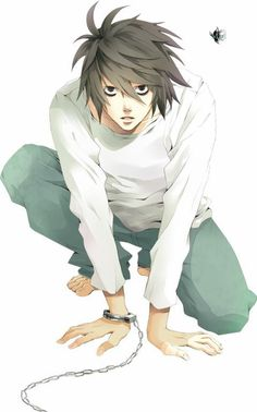 DEATH NOTE • L Lawliet || I thought at first that sign on the right was a fly. Gosh. Really. Need. New. Glasses.