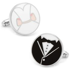 Bride & Groom Cuff Links ($55) ❤ liked on Polyvore featuring men's fashion, men's accessories, cuff links and black