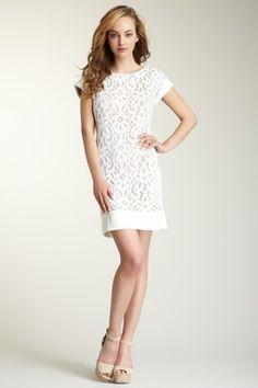 Short Sleeve Lace Knit Dress