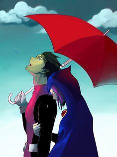 beast boy and raven Teen Titans Love, Teen Titans Fanart, Teen Titans Starfire, Original Teen Titans, Cartoon Fan, Couple Cartoon, Cartoon Edits, Raven Cosplay, Raven Beast Boy