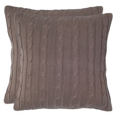 Allie Cable Knit Pillow in Mocha
