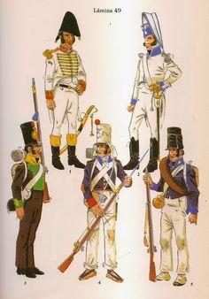 Spanish; Asturian Units. From Top Left Clockwise, Officer Regt.Gijon 1808, Officer Regt. Cangas de Onis 1808, Fusilier Oviedo Militia 1814, Fusilier 2nd Regt Asturia 1814 & Fusilier Regt. Cangas de Tineo 1813