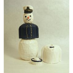 Snowman Wood Carving Naval Academy or NROTC Midshipman Art Sculpture... (615 MXN) ❤ liked on Polyvore featuring home, home decor, integritytt, wood carving sculpture, wooden figurines, wood figurine, snowman figure and wood sculpture