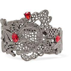 Oscar de la Renta - Lace Silver-tone Crystal Bracelet (1.040 RON) ❤ liked on Polyvore featuring jewelry, bracelets, red, red jewelry, silvertone jewelry, oscar de la renta, crystal stone jewelry and red bangles
