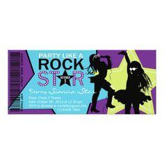 Rock Star Girl Band Birthday Purple Lime Card