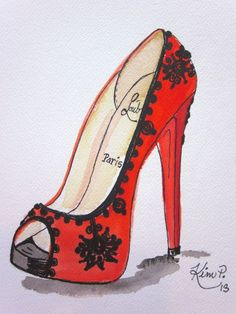 Fashion illustration: louboutin inspired shoe sketch red peep toe original pen and watercolor via Etsy Fashion Illustration Shoes, Fashion Illustrations, Illustration Art, Shoe Sketches, Fashion Sketches, Drawing Fashion, Art Shoes, Shoe Art, Fashion Art