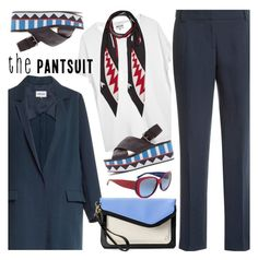 """The Pantsuit"" by paculi ❤ liked on Polyvore featuring Ralph Lauren, Rockins, Apt. 9, navy, blazer, scarf and thepantsuit"