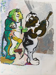 """Paula Rego """"Cat & Guinea Pig"""" 1981 Acrylic on paper mounted on canvas"""