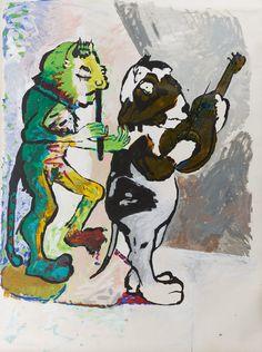 Paula Rego, os músicos, gato e porquinho-da-Índia, 1981