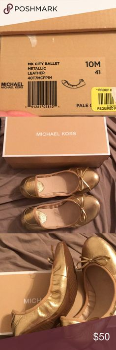 Gold Metallic Michael Kors Ballet Flats never worn Brand new never worn gold Michael Kors Gold Metallic Leather City Ballet flats  size 10 Cushiony thick soles Michael Kors Shoes Flats & Loafers
